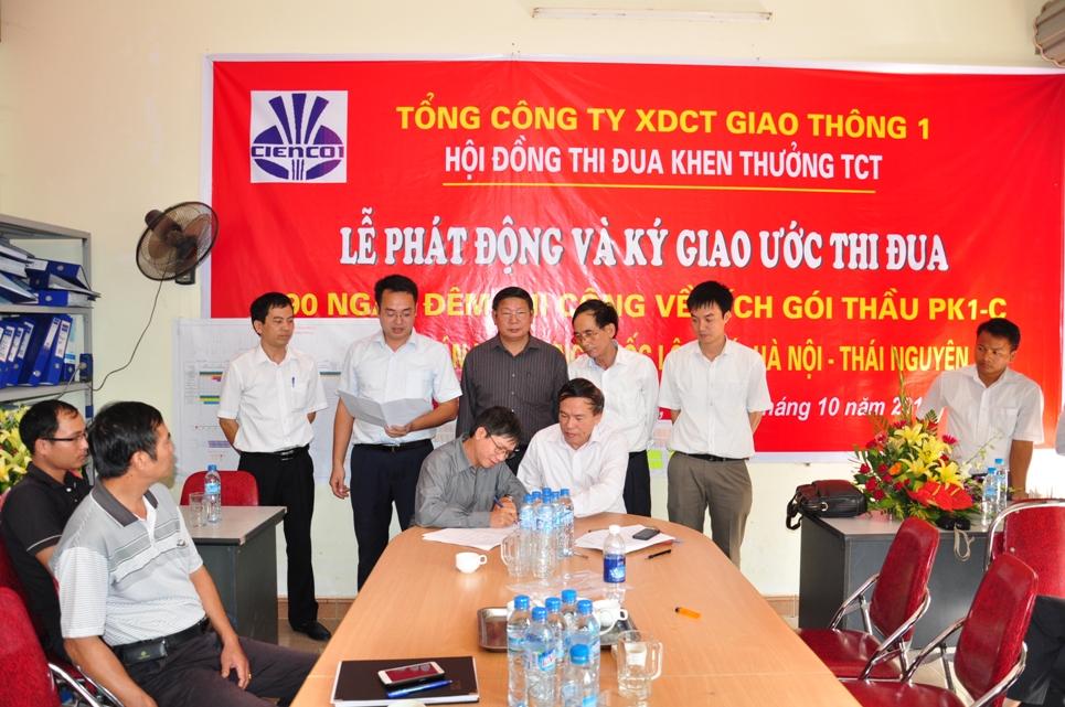 Phát động và ký giao ước thi đua 90 ngày đêm thi công về đích gói thầu PK1-C dự án xây dựng quốc lộ 3 mới Hà Nội – Thái Nguyên