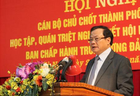 Đ/c Phạm Quang Nghị - Ủy viên Bộ Chính trị, Bí thư Thành ủy Hà Nội phát biểu khai mạc Hội nghị