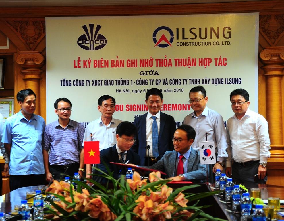 Lễ ký biên bản thỏa thuận hợp tác giữaCIENCO1 và ILSUNG - Hàn Quốc