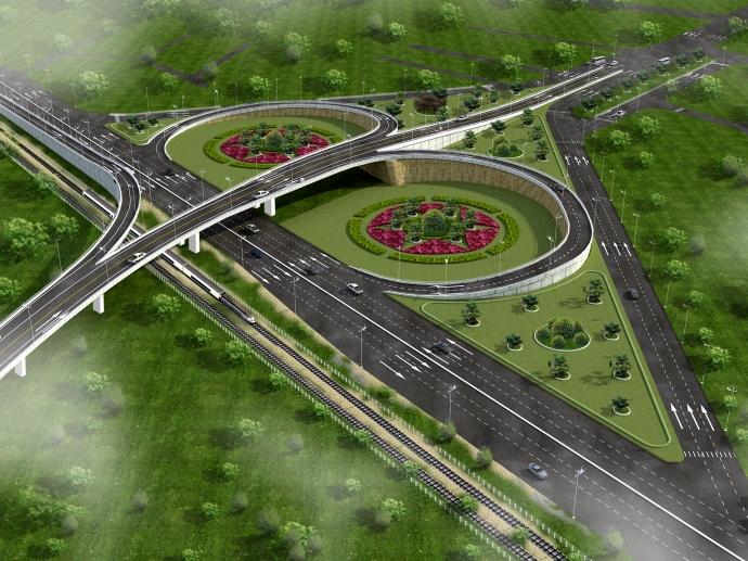 Phối cảnh đường vành đai phía Tây, thành phố Thanh Hóa đoạn giao với quốc lộ 1A